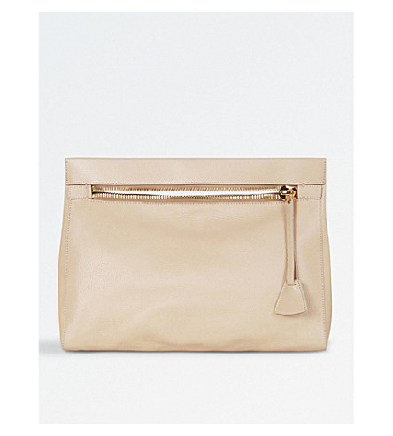 MON PURSE Carrier oversized leather clutch (Stone
