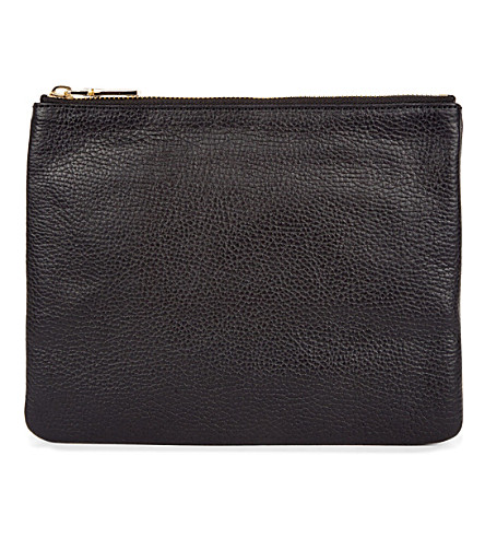 MON PURSE Poche leather pouch (Black