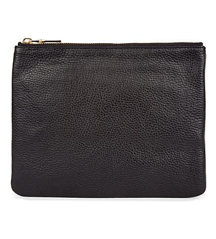 MON WALLET Poche leather pouch (Black