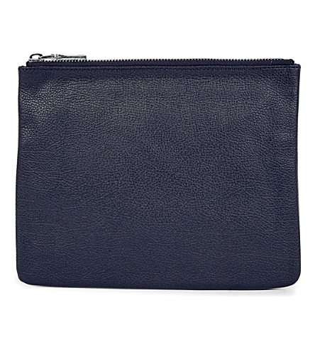 MON WALLET Poche leather pouch (Navy+blue