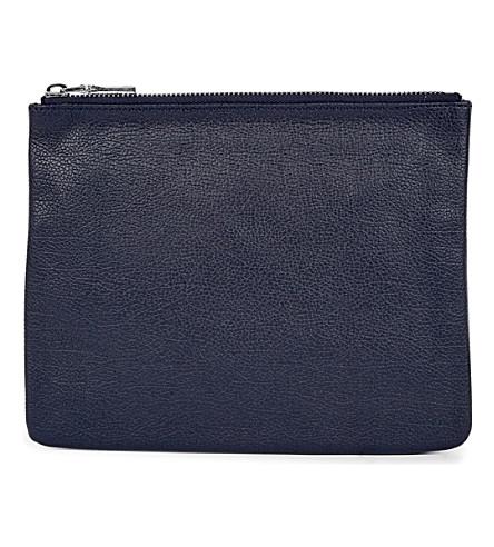 MON PURSE Poche leather pouch (Navy+blue