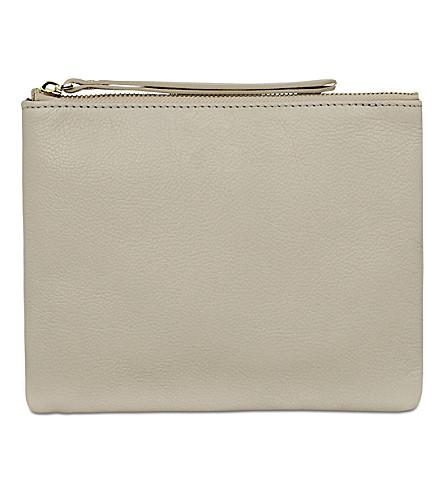 MON PURSE Poche leather pouch (Stone