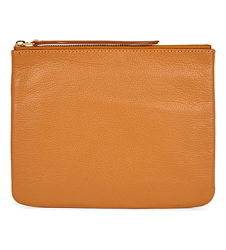 MON PURSE Poche leather pouch (Tan