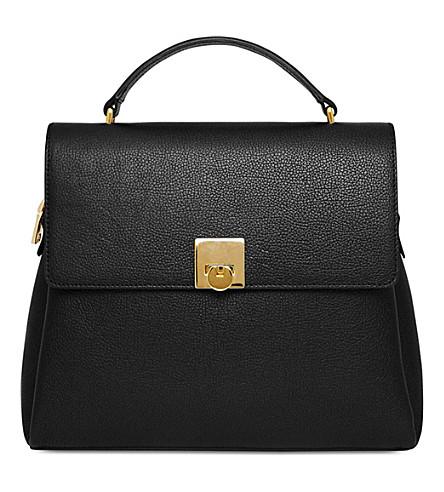 MON PURSE Grainy leather top handle bag (Black