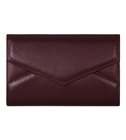 MON PURSE Triangle Envelope leather clutch (Burgundy