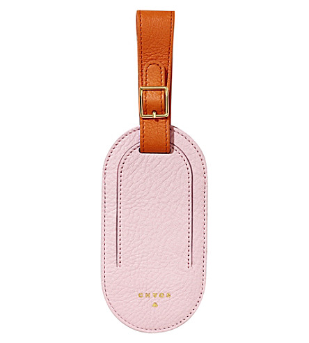 CHAOS Deerskin leather luggage tag (Pink