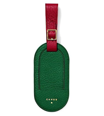 CHAOS Deerskin leather luggage tag (Green