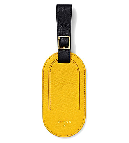 CHAOS Deerskin leather luggage tag (Yellow