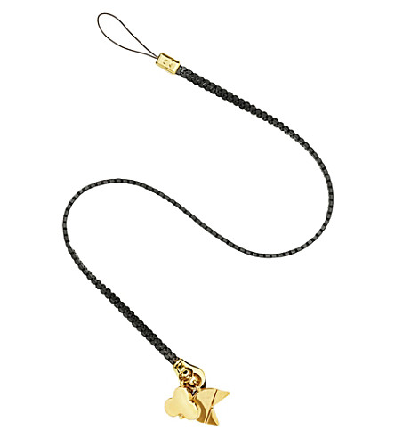 CHAOS Zipper lanyard with gold-plated charms (Black