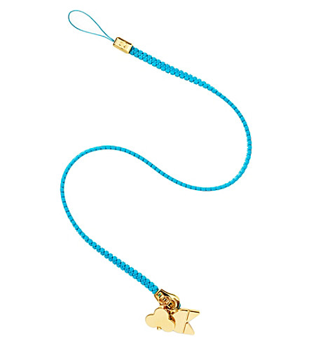 CHAOS Zip lanyard with gold-plated charms (Blue