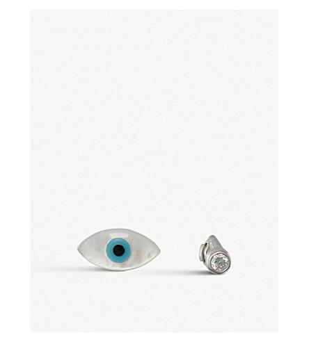 THE ALKEMISTRY Ainara Evil Eye 18ct white-gold earrings (White+gold
