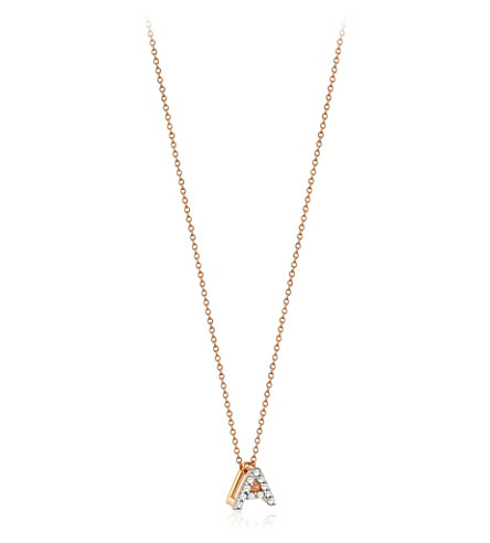 THE ALKEMISTRY Kismet by Milka Letter A 14ct rose gold and diamond necklace (Rose+gold