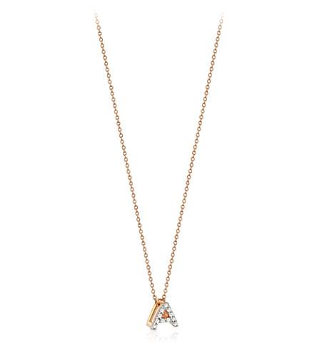 THE ALKEMISTRY 命运由 Milka 字母 A 14ct 玫瑰金和钻石项链 (玫瑰 + 金