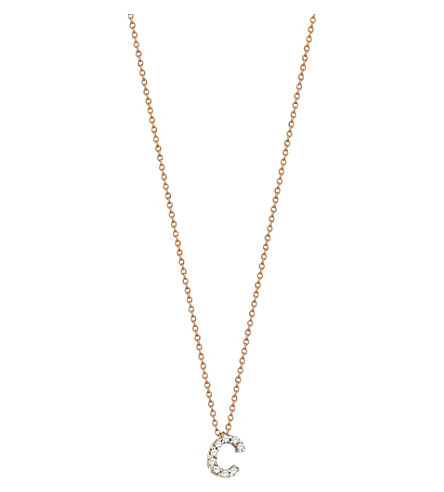 THE ALKEMISTRY Kismet by Milka Letter C 14ct rose gold and diamond necklace (Rose+gold