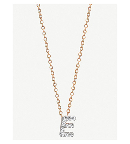 THE ALKEMISTRY Kismet by Milka 14ct rose gold initial E necklace (Rose+gold