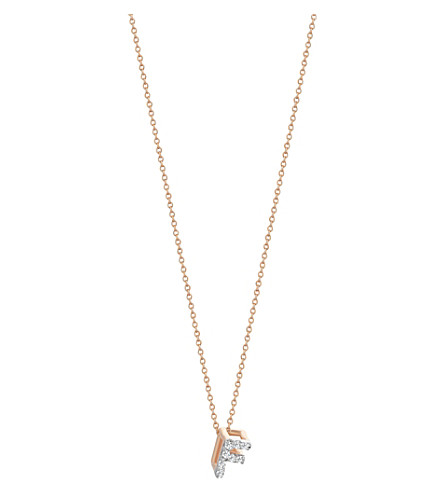 THE ALKEMISTRY Kismet by Milka Letter F 14ct rose gold and diamond necklace (Rose+gold