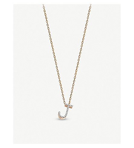 THE ALKEMISTRY Kismet by Milka J initial 14ct rose-gold and diamond necklace (Rose+gold