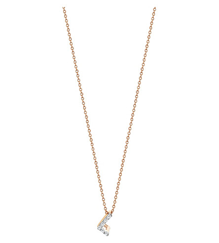 THE ALKEMISTRY Kismet by Milka Letter L 14ct rose gold and diamond necklace (Rose+gold
