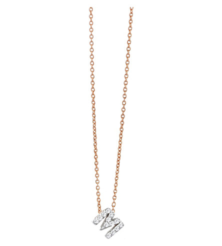 THE ALKEMISTRY Kismet by Milka M initial 14ct rose gold and diamond necklace (Rose+gold