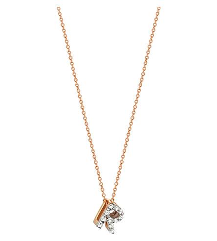 THE ALKEMISTRY Kismet by Milka R initial 14ct rose gold and diamond necklace (Rose+gold