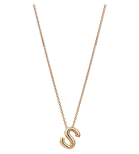 THE ALKEMISTRY Kismet by Milka 14ct rose-gold initial S necklace (Rose+gold