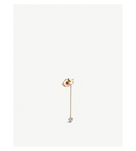 THE ALKEMISTRY Kismet by Milka Heart & arrow 14ct rose-gold and diamond earring (Rose+gold