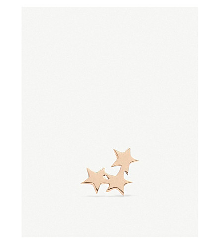 THE ALKEMISTRY Kismet by Milka 14ct rose-gold triple-star earring (Rose+gold