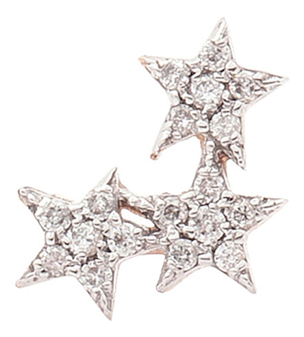 THE ALKEMISTRY 14ct rose-gold and diamond triple-star earring (Rose+gold