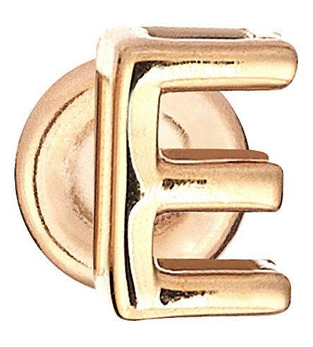 THE ALKEMISTRY Kismet by Milka 14ct rose-gold E initial stud earring (Rose+gold