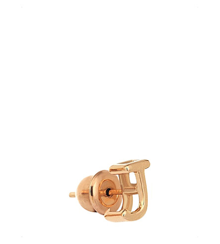 THE ALKEMISTRY 14ct rose-gold J initial stud earring (Rose+gold