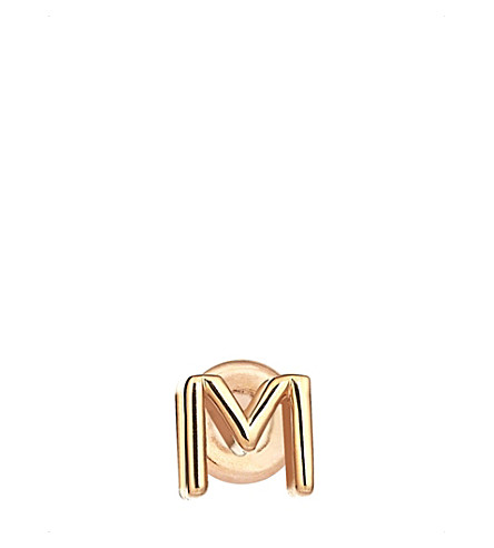 THE ALKEMISTRY Kismet by Milka 14ct rose gold initial M earring (Rose+gold