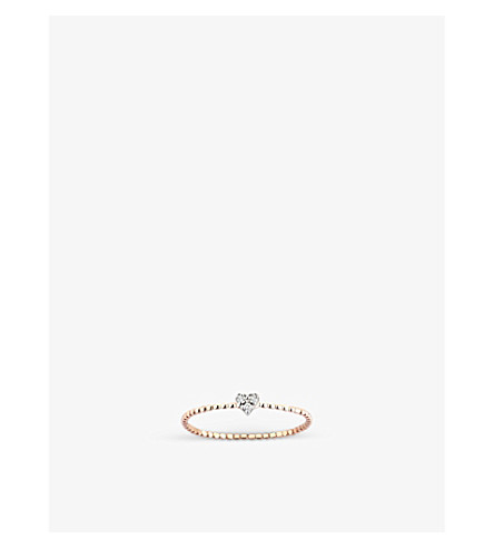 THE ALKEMISTRY Kismet by Milka diamond heart 14ct rose-gold ring (Rose+gold