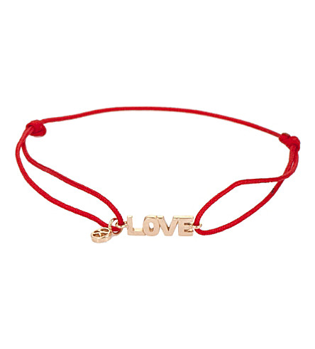 THE ALKEMISTRY Kismet by Milka Love 14ct rose gold and red cord bracelet (Rose+gold