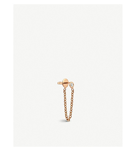THE ALKEMISTRY Kismet by Milka chain 14ct rose-gold and diamond earring (Rose+gold
