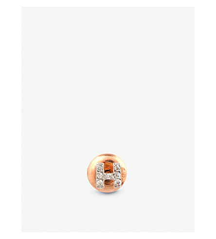 THE ALKEMISTRY 14ct rose-gold and diamond H initial earring (Rose+gold