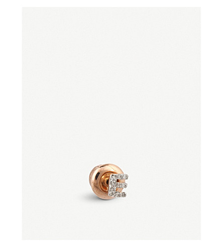 THE ALKEMISTRY Kismet by Milka 14ct rose-gold and diamond E initial earring (Rose+gold
