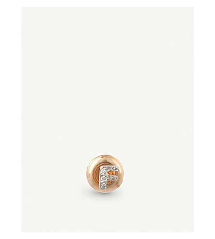 THE ALKEMISTRY Kismet by Milka 14ct rose-gold and diamond F initial earring (Rose+gold
