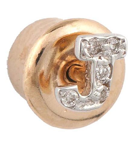 THE ALKEMISTRY Kismet by Milka 14ct rose-gold diamond J initial stud earrings (Rose+gold