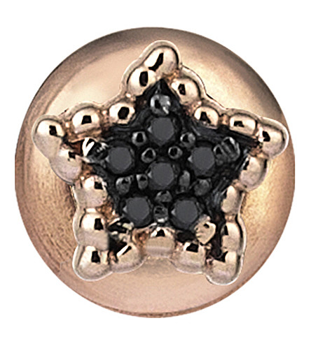THE ALKEMISTRY Kismet By Milka Star 14ct rose-gold and black diamond stud earring (Rose+gold