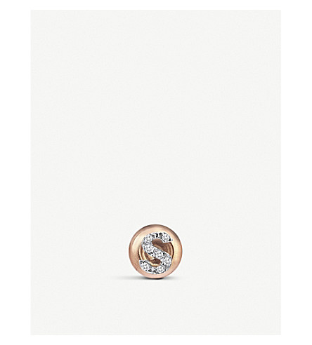 THE ALKEMISTRY 14ct rose-gold and diamond S initial earring (Rose+gold