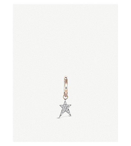 THE ALKEMISTRY Kismet by Milka 14ct rose-gold and diamond star hoop earring (Rose+gold