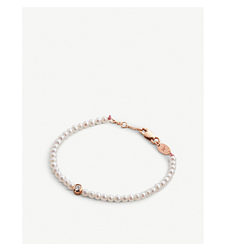THE ALKEMISTRY Pearl, diamond and 18ct rose-gold bracelet 1-3 years (Rose+gold
