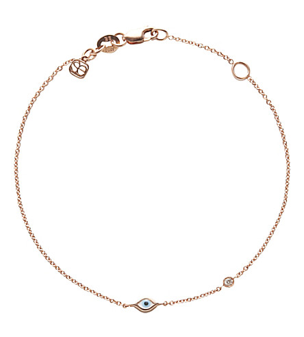 THE ALKEMISTRY Sydney Evan Evil eye 14ct rose-gold and diamond chain bracelet (Rose+gold