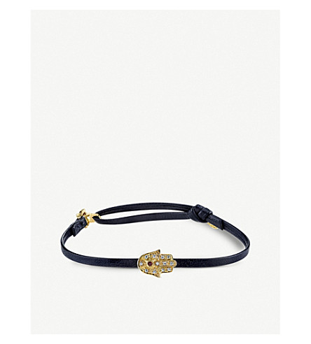 THE ALKEMISTRY Sydney Evan Hamsa 14ct yellow gold and leather bracelet (Yellow+gold