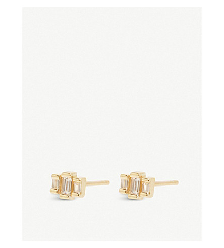 THE ALKEMISTRY Zoë Chicco 14ct yellow-gold and diamond stepped earrings (Yellow+gold