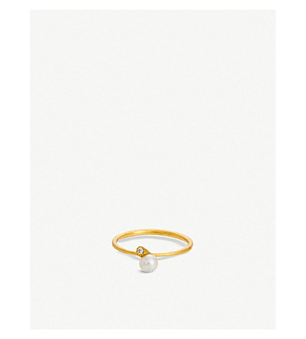 THE ALKEMISTRY RICO by Mizuki Akoya pearl diamond mini ring (Yellow