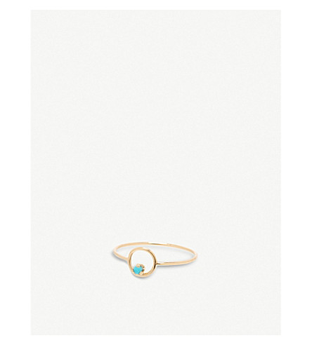THE ALKEMISTRY Zoë Chicco 14ct yellow-gold and turquoise circle ring (Yellow+gold