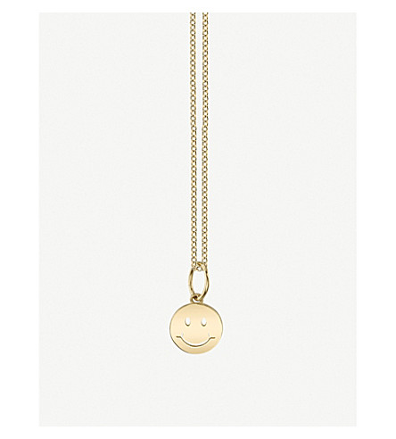 THE ALKEMISTRY Sydney Evan Happy Face 14ct yellow gold necklace (Yellow+gold
