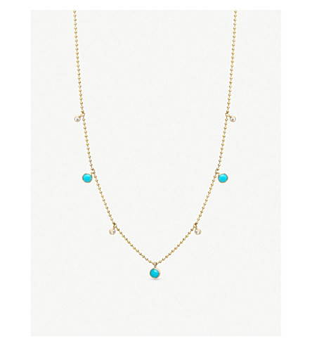 THE ALKEMISTRY Zoë Chicco 14ct yellow-gold, diamond and turquoise drop necklace (Yellow+gold