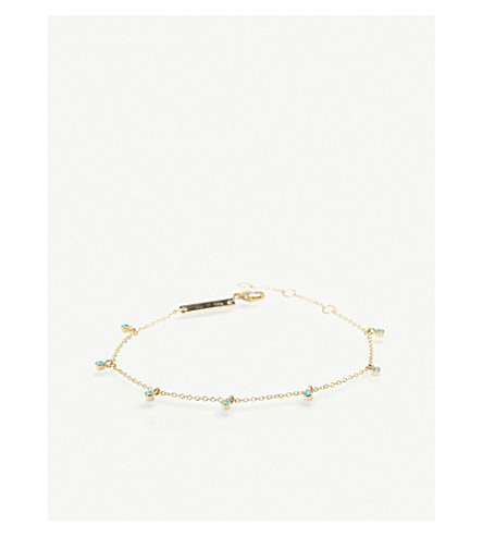 THE ALKEMISTRY Zoë Chicco 14ct yellow-gold and turquoise anklet (Yellow+gold